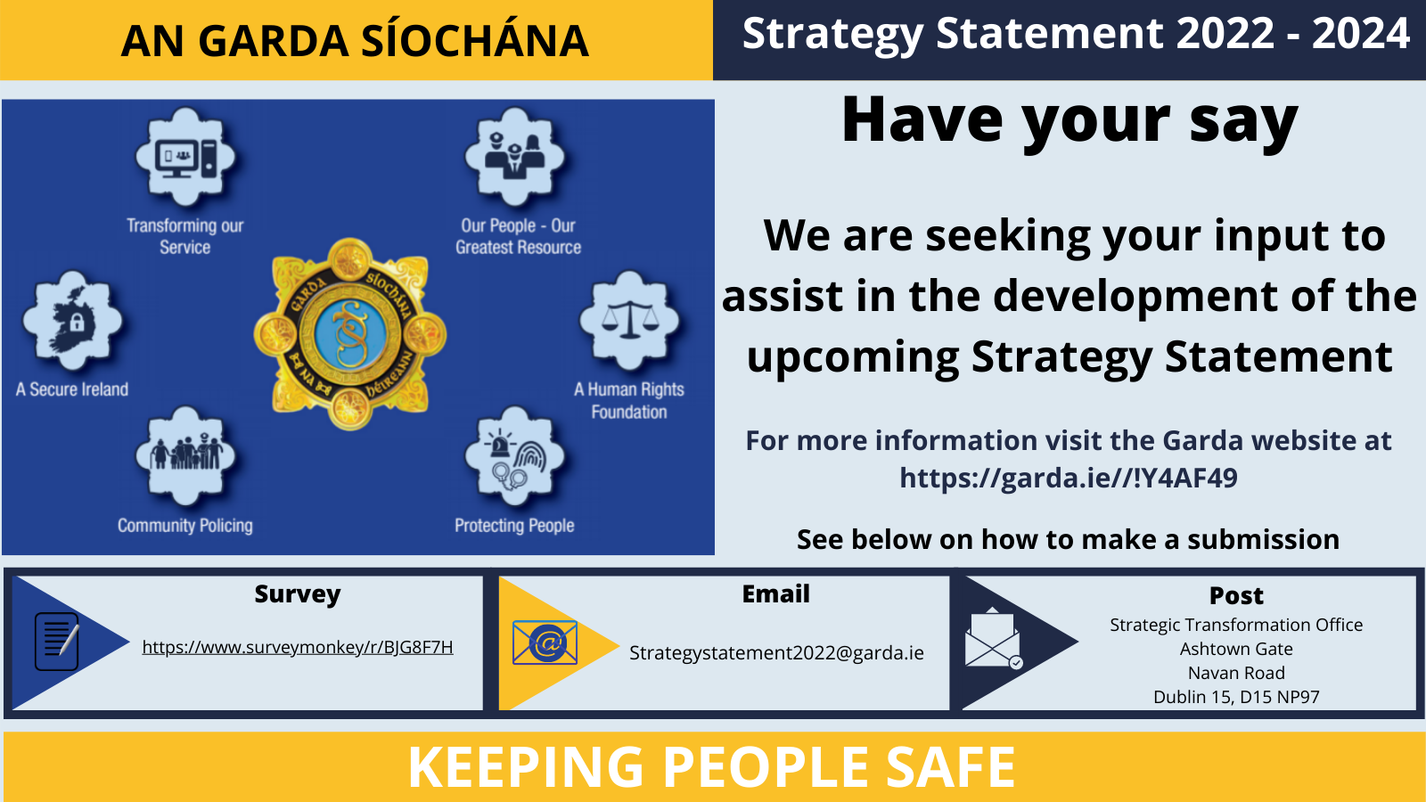 An Garda Síochána Strategy Statement 2022-2024 Survey