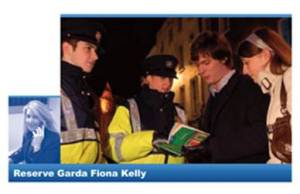 Reserve Garda Fiona Kelly at her day job (inset) and on duty